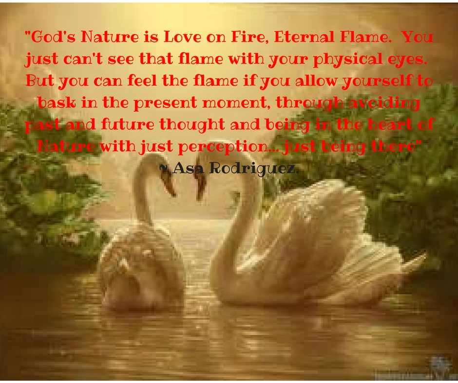 _God's Nature is Love on Fire, Eternal Flame. You just can't see that flame with your physical eyes. But you can feel the flame, if you allow yourself to bask in the present moment, thro